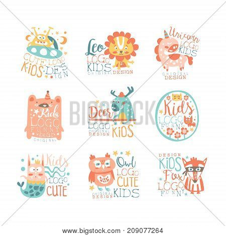 Modern logo design for kids with animals and fantasy characters alien, leo, unicorn, bear, deer, cat, bunny, owl, fox. Cartoon vector badges illustration in stylish colors isolated on white background