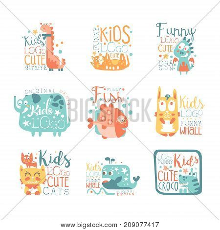 Modern logo design for kids with animals and fantasy characters giraffe, cat, dragon, elefant, fish, bunny, whale, crocodile. Cartoon vector illustration in stylish colors isolated on white background