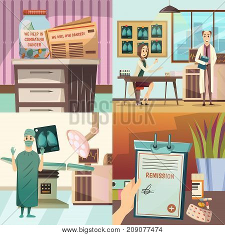 Defeat cancer 4 orthogonal medical icons concept with oncological surgery operation table lights and laboratory isolated vector illustration poster