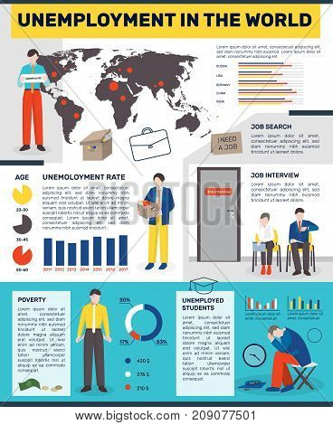 Unemployed people flat infographics with images of redundant workers colourful graphs world map and editable text paragraphs vector illustration