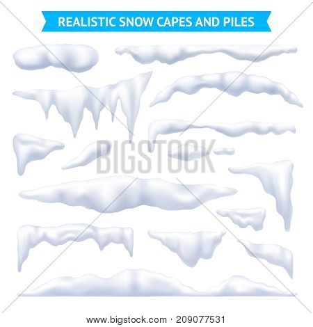 Snow white capes and piles realistic set isolated vector illustration