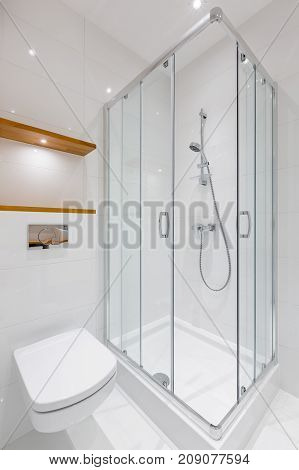 White Bathroom With Shower