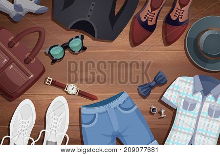 Colored men accessories illustration background clothes and accessories laid out on the wooden floor vector illustration