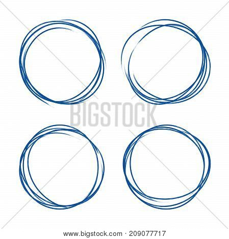 Set of hand drawn grunge style dark blue vintage ball pen scribbles on white paper background. Text logo or icons selection abstract frame concept.