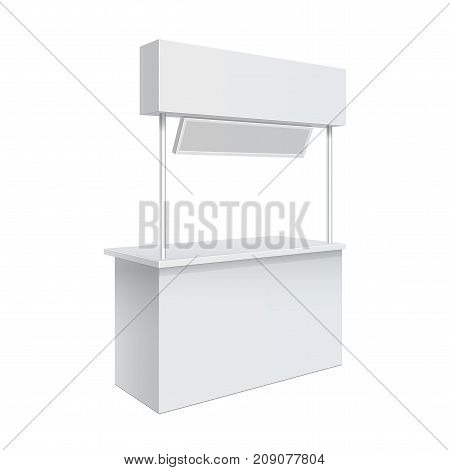 Advertising POS POI Promotion counter Retail Trade Stand Isolated on the white background. MockUp Template For Your Design. Front view and perspective view. Vector illustration.