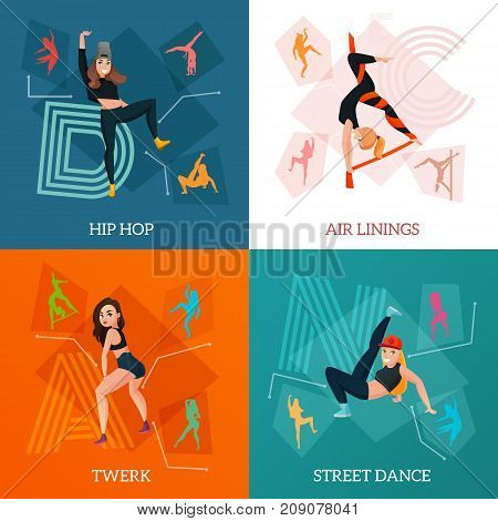 Modern dance types concept with hip hop, aerial ribbons, street style movements, twerk isolated vector illustration