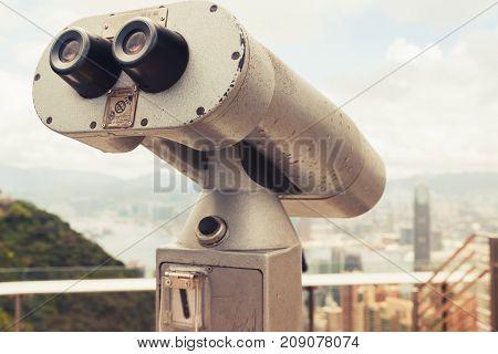 Tourist Telescope In Hong Kong City