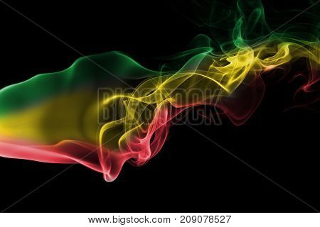 Ethiopia Rasta smoke flag isolated on black background