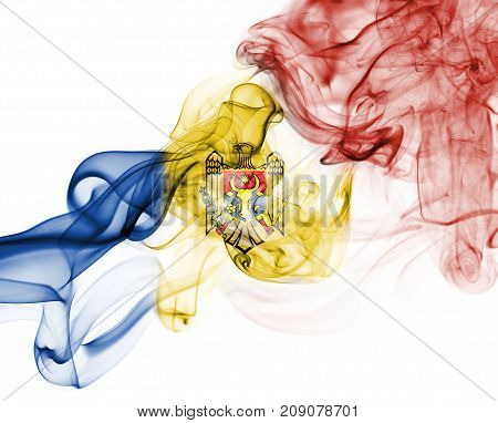 Moldova smoke flag isolated on a white background