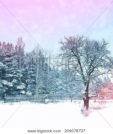Village in winter snow covered forest. Holiday card.