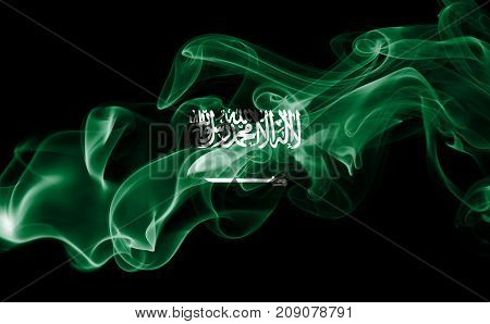 Saudi Arabia smoke flag isolated on black background
