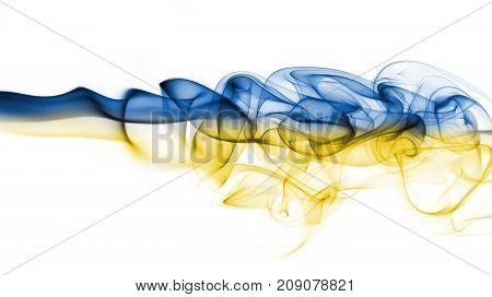 Ukraine smoke flag isolated on a white background