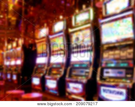 Image of abstract blur slot machine. Casino for background usage