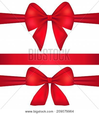 Decorative red bow with horizontal red ribbon isolated on white. Vector set of silk bows.