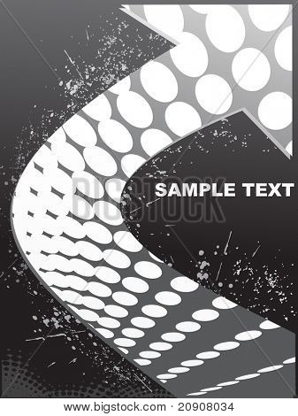 black abstract background of arrow and sample text, grungy wallpaper