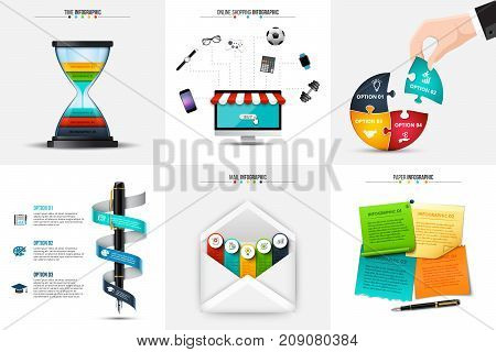 Vector hourglass, puzzle, pen, envelope and stickers for infographic. Business concept with 3, 4 and 5 options, parts, steps or processes.