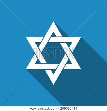 Star of David icon isolated with long shadow. Flat design. Vector Illustration
