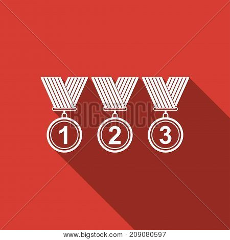 Medal set icon isolated with long shadow. Winner simbol. Flat design. Vector Illustration