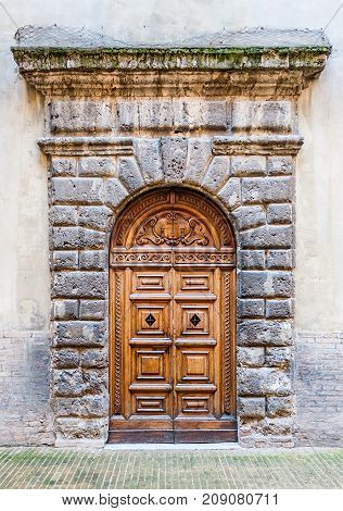 Door Detail Of The Ducale Palace In Urbino City, Marche, Italy