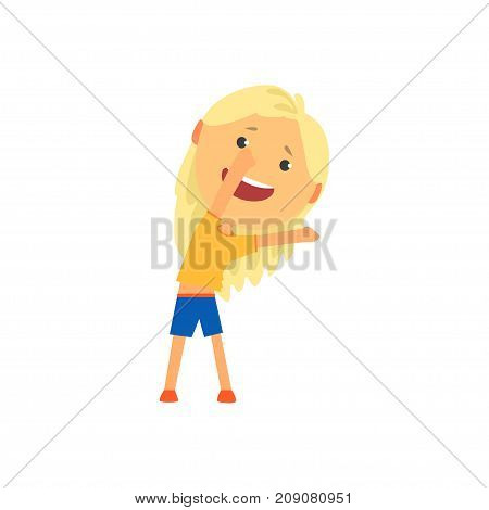 Happy blonde girl doing sport exercise, incline to side, kids physical activity cartoon vector Illustration isolated on a white background