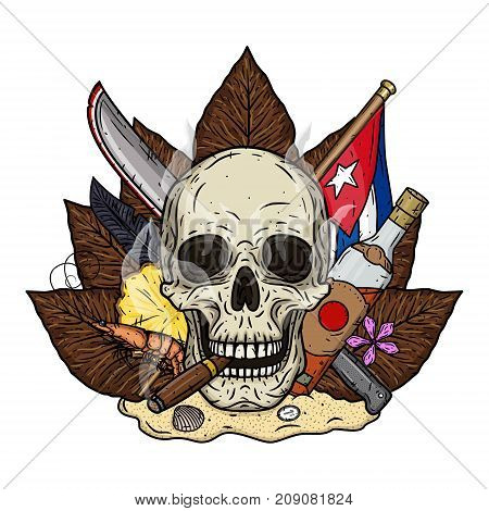 Skull with cigar on the background of tobacco leaves, a machete and a Cuban flag, standing on the sand isolated on white background