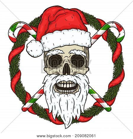 The skull of Santa Claus in the background of the branches of the Christmas tree and crossed candies. Santa claus skull. Cartoon skull isolated on white background
