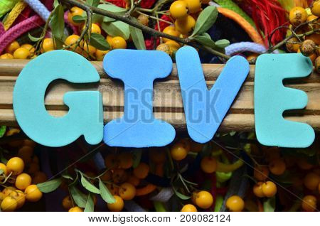word give on a  abstract colorful background