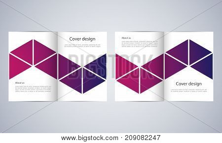 Bi-fold business brochure template with abstract background.