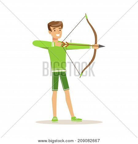 Male archer character standing with bow and aiming to the target, active sport lifestyle vector Illustration isolated on a white background