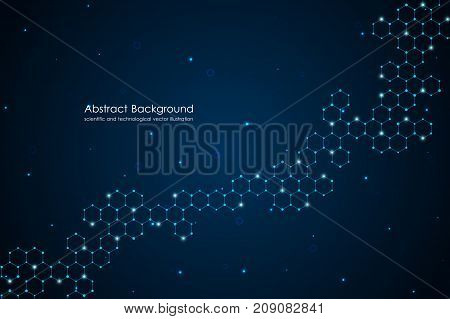 Abstract hexagonal molecule background, genetic and chemical compounds, scientific or technological concept, vector illustration