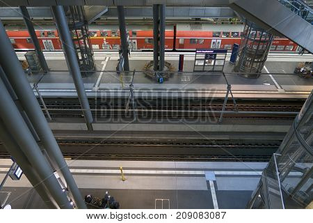 Berlin Germany - October 8 2017: View of interior of the central train station in Berlin Germany.