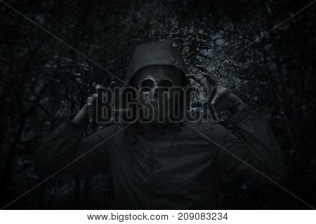 Human skull in jacket over spooky tree and forest at night time Halloween concept
