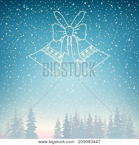 Snowfall and Holiday Crystal Glass Jingle Bells Snow Falls on the Spruce  Winter Landscape in Blue Shades