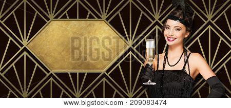 Art Deco Style Party Girl.
