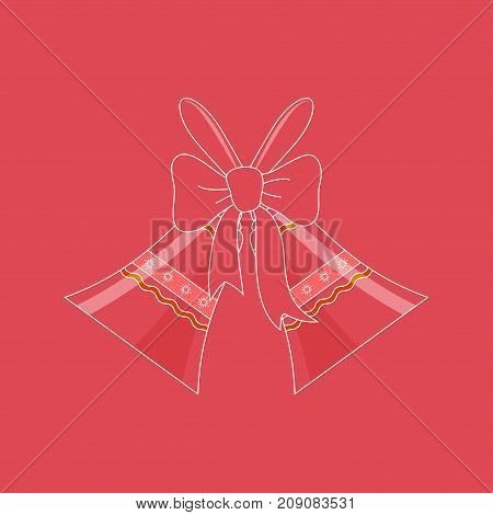 Holiday Crystal Glass Jingle Bells with Ornament Decorated with a Bow on a Pink Background Christmas Decoration