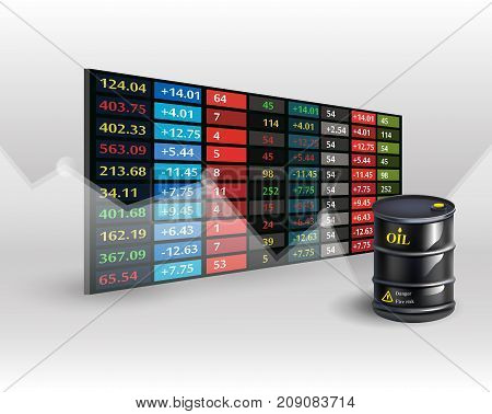 stock market price display background with Oil barrel. Vector illustration EPS10