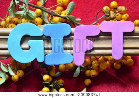 the word gift on a  abstract colorful background