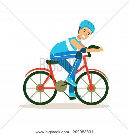 Male cyclist character riding bicycle, active sport lifestyle vector Illustration isolated on a white background