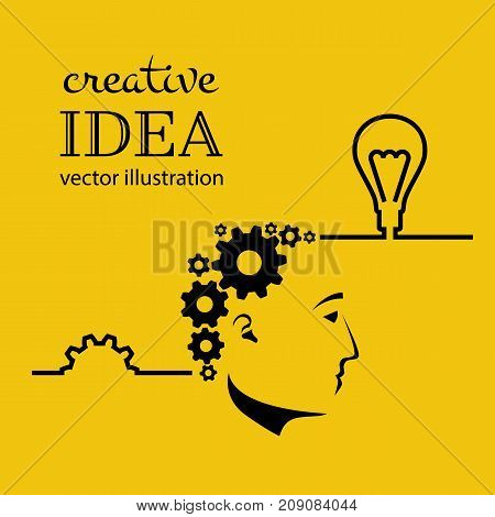 Creative ideas concept. Innovation, solution. Silhouette of person face, result work brain Idea. Mechanism of gears in head. Success in education project. Vector illustration. Isolated on background.