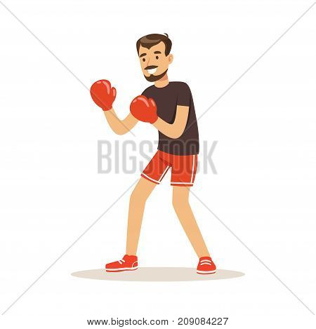 Male athlete player character boxing, active sport lifestyle vector Illustration isolated on a white background