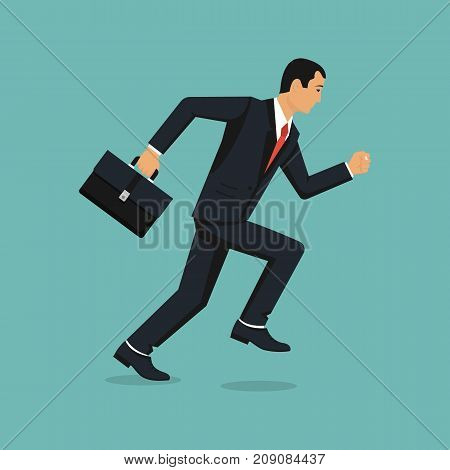 Businessman running with briefcase. Dynamic business concept. Late for work. Successful man in a suit run for work. Vector illustration flat design. Isolated on background. Business people.