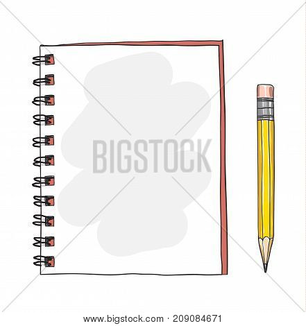 red notebook and yellow pencil hand drawn cute vector art illustration
