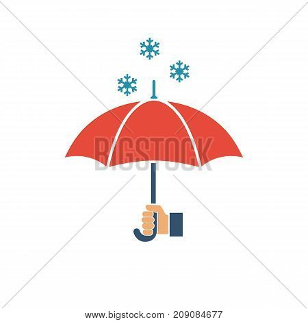 Umbrella holding in hand human. Icon defending from snow.  Winter snow cold weather. Vector illustration flat design. Isolated on background with shadow. Falling snow flakes.