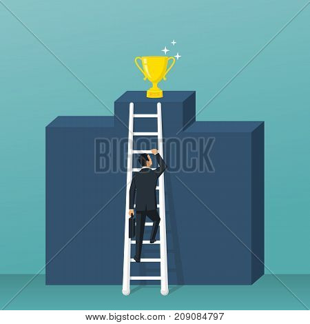 Way to success. Cup standing on pedestal. Businessman climbs up the stairs to victory. Up podium. Vector illustration flat design. Isolated on background. Achieving goal. Man in suit with briefcase.
