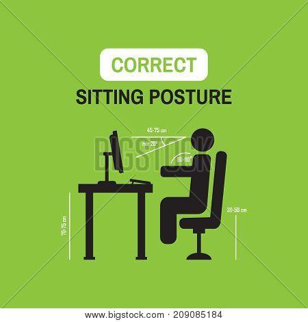 Ergonomic Posture Factors. Correct Sitting Posture Vector