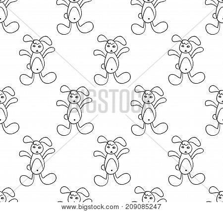 White Rabbit on White Background. Vector Illustration.