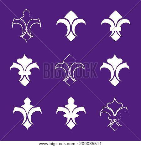 fleur de lis vector. Engraving fleur de lis icons set