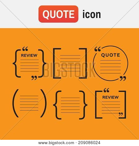 bracket quote icons. Quotes and brackets Speech Bubbles