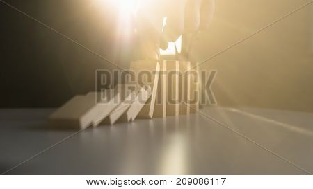 Stopping Domino Effect With A Bright Light Flare From Behind