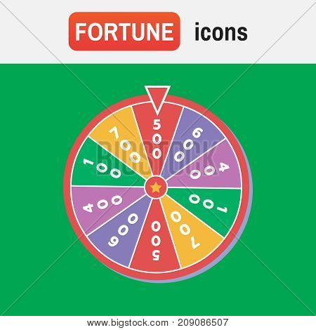 wheel lucky fortune. Lucky wheel, close up, vector illustration